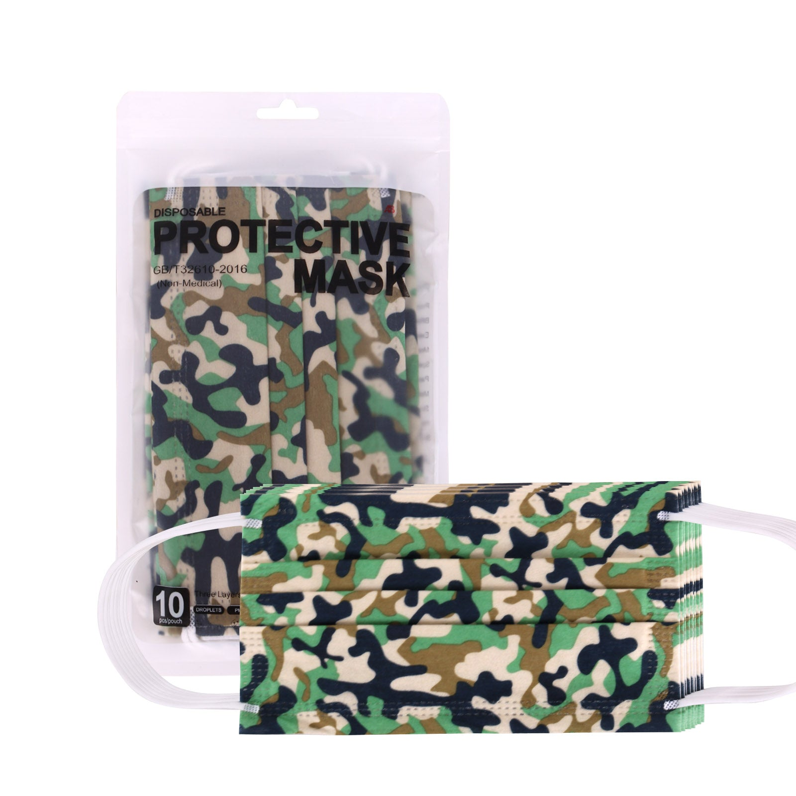 1000Pcs American Bling 10Pcs /Pack Green Camo Print 3Ply Disposable Face Masks
