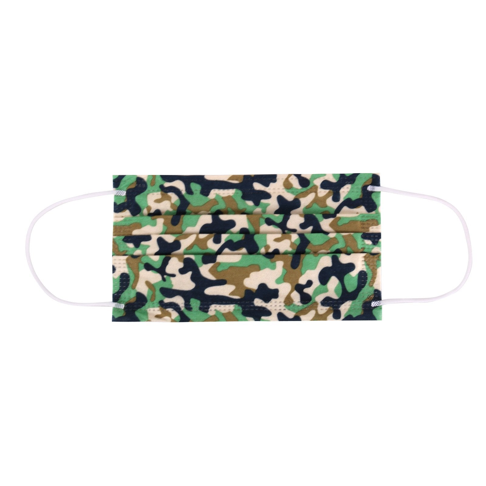50Pcs American Bling  (10Pcs Pack x 5) Green Camo Print 3Ply Disposable Face Masks