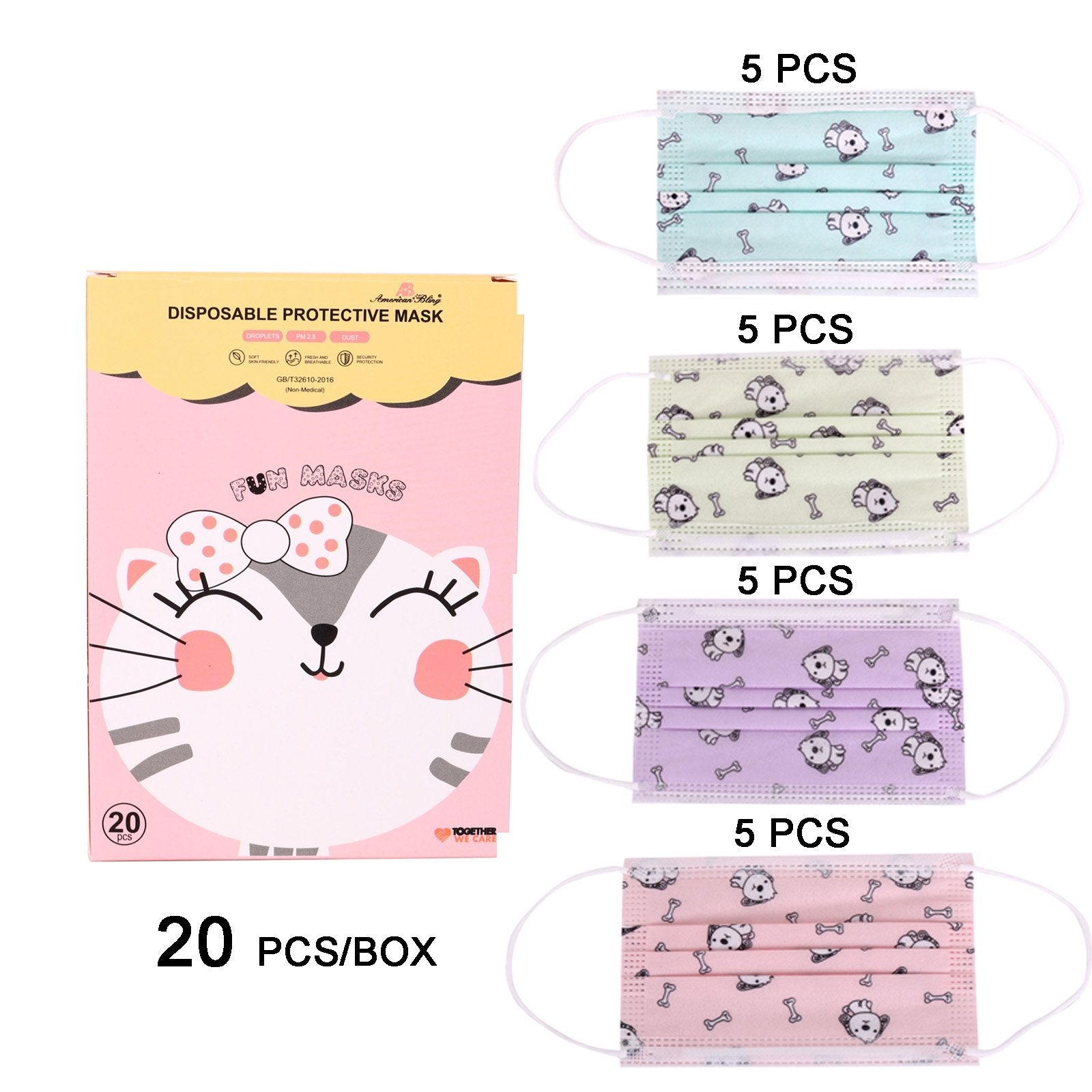 2000Pcs American Bling Kids 3 Ply Disposable Assorted Color Dog & Bone Print Face Mask  (20Pcs/Box)