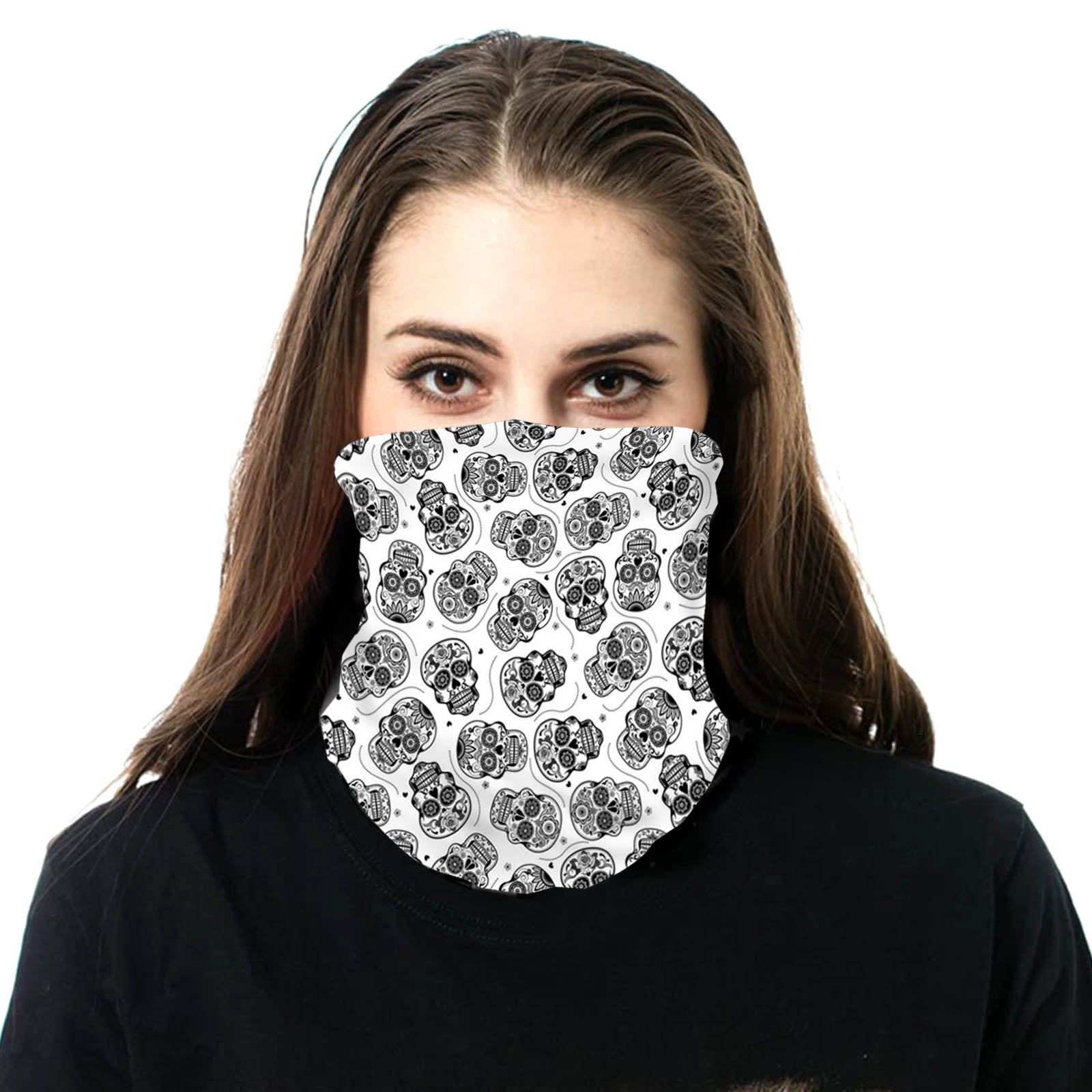 NFC-9008 Sugar Skull Print Neck Gaiter Face Mask Reusable, Washable Bandana /Head Wrap Scarf-1Pcs/Pack