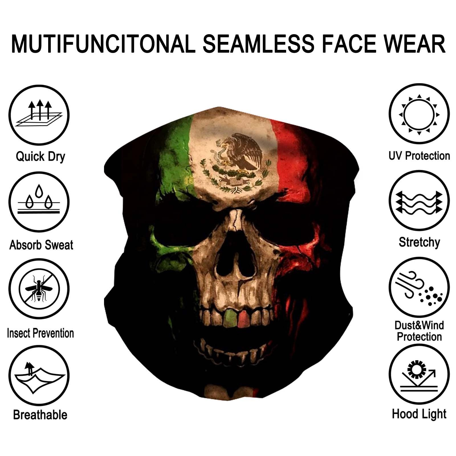 NFC-9020  Skull Print Neck Gaiter Face Mask Reusable, Washable Bandana /Head Wrap Scarf-1Pcs/Pack