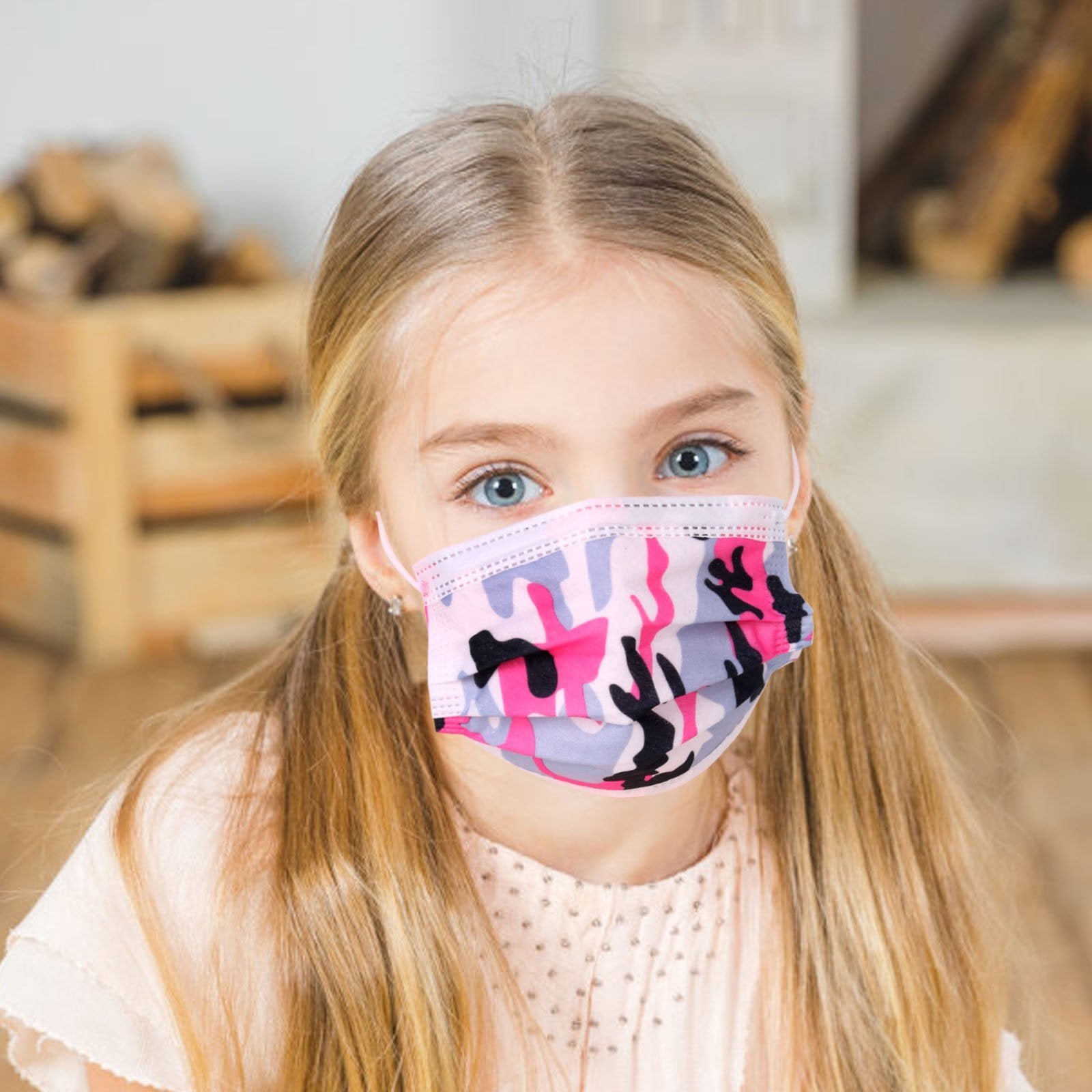 1000Pcs American Bling Kids 3 Ply Disposable Assorted Color Camo Print Face Mask  (20Pcs/Box)