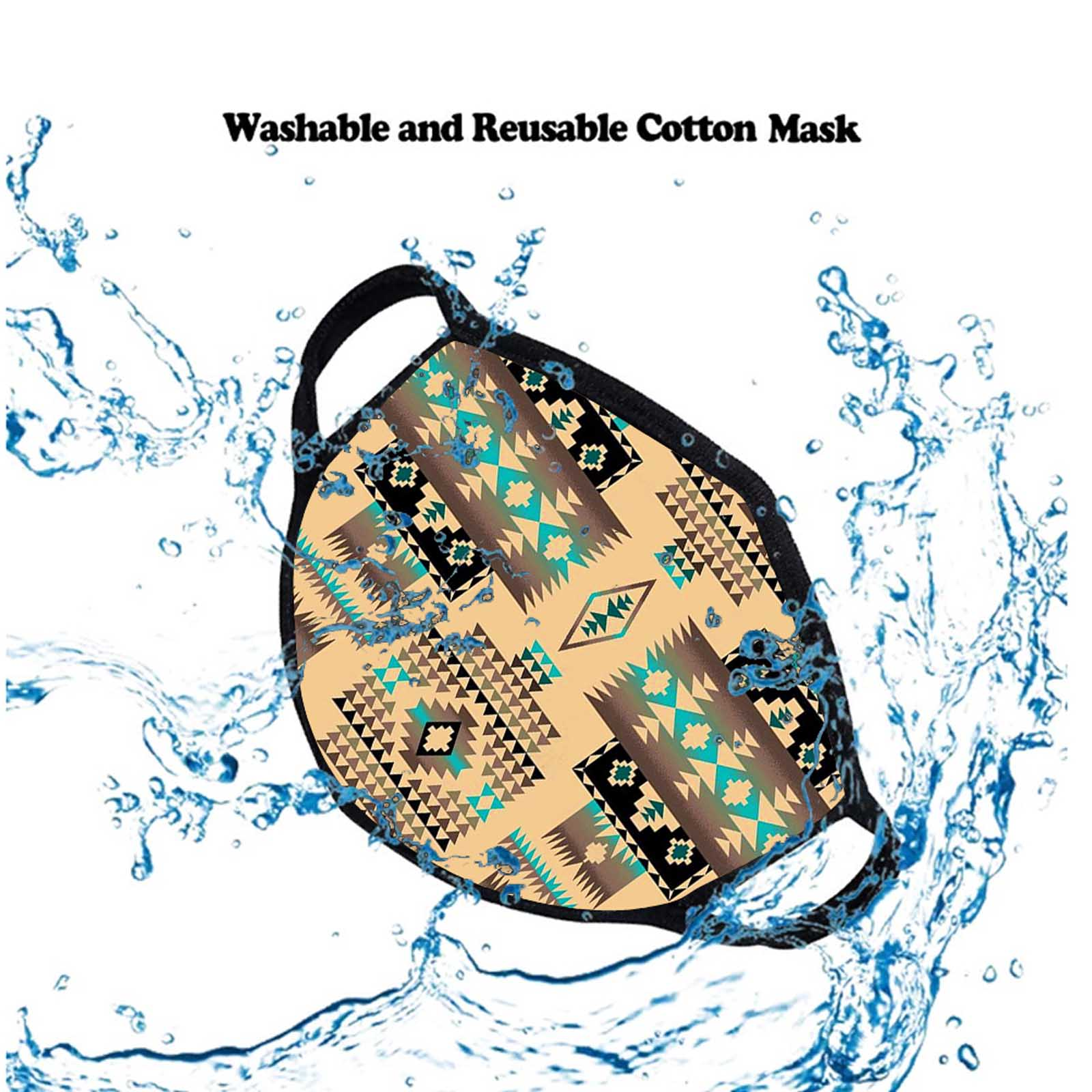 FCM-010 Coffee American Bling Aztec Print Fabric Face Mask Double Layer Set of 2