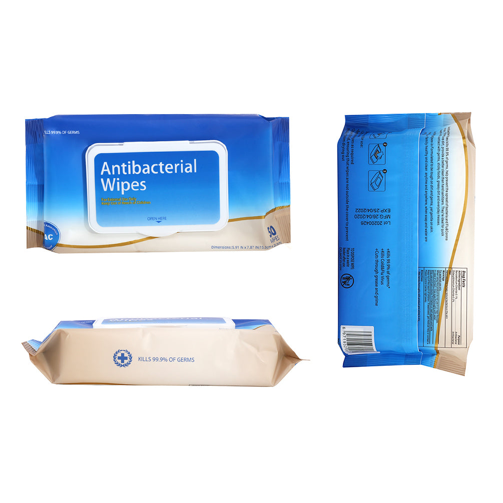 Antibacterial Wipes Resealable Bag (50 Count x 12)