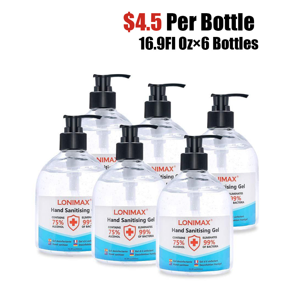 16.9 Fl Oz, Bottle of 6 Gel Hand Sanitizer with Aloe Vera  Disinfectant Alcohol Liquid 75%