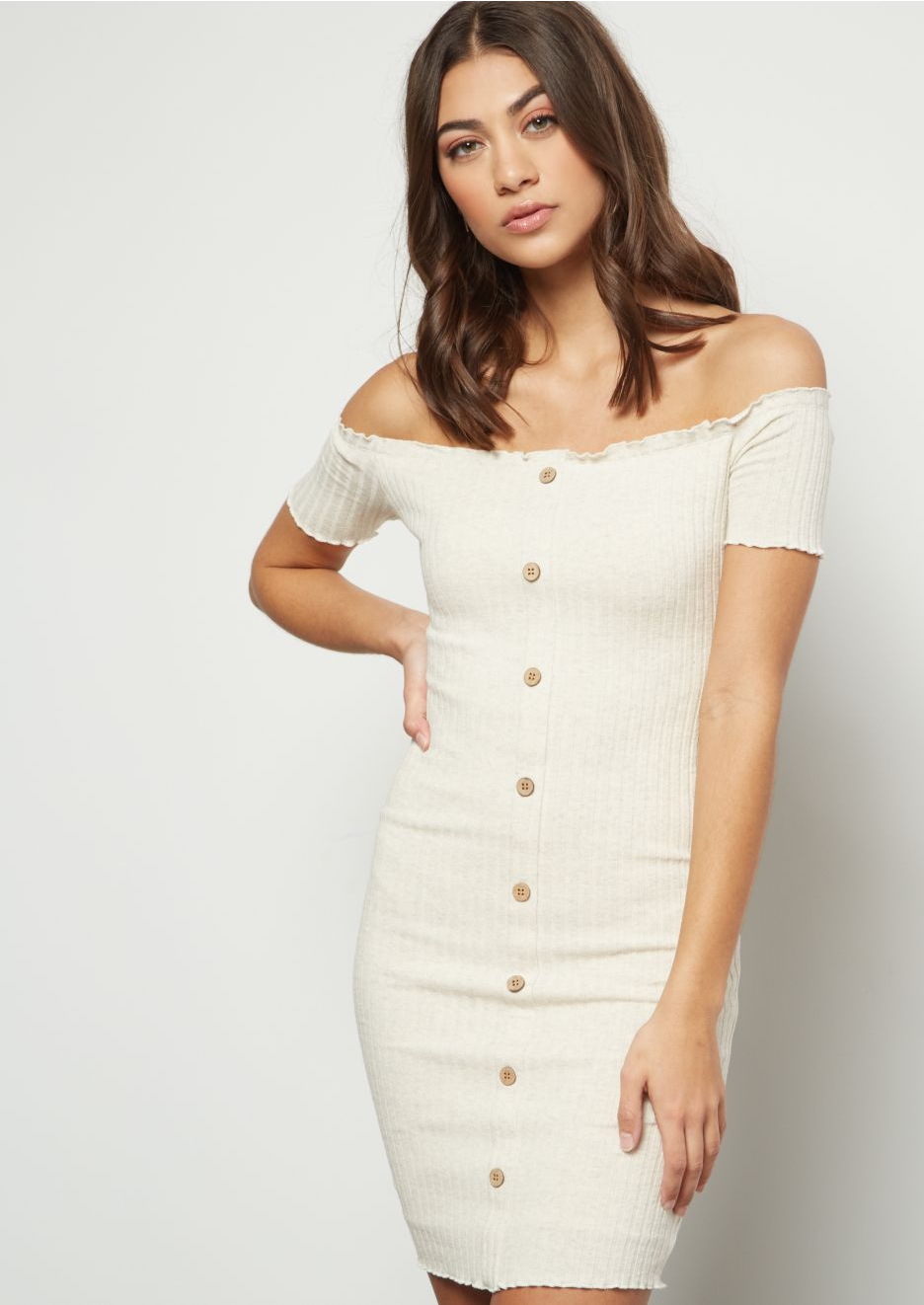 Ribbed Off The Shoulder Dress - Oatmeal - Vixen Boxx