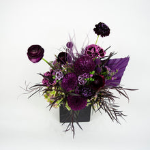 Load image into Gallery viewer, Dark purple fresh floral arrangement in black container