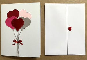 red and pink heart balloons card with envelope