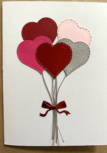 heart balloons valentines greeting card
