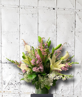 White, green, pink summer elegance floral arrangement
