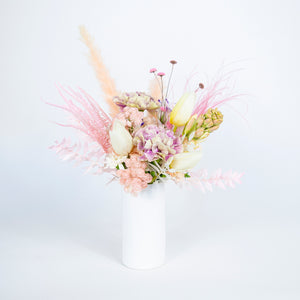 pink and white fresh floral bud vase
