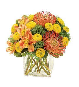 Springtime floral arrangement in glass vase