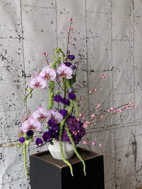 Orchid, Cherry Blossom, Stock, Hydrangea and Amarantus floral arrangement