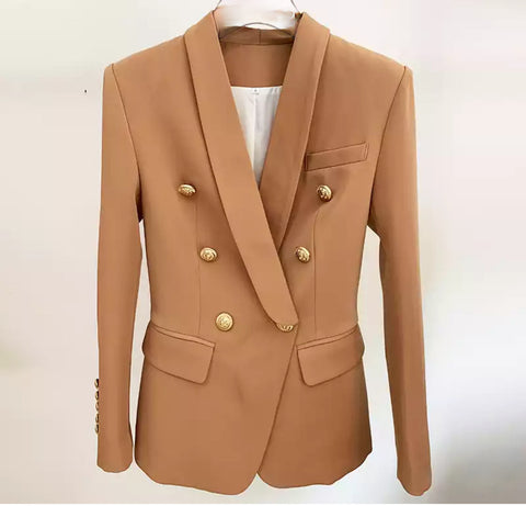 The Chic Gold Button Double-Breasted Blazer