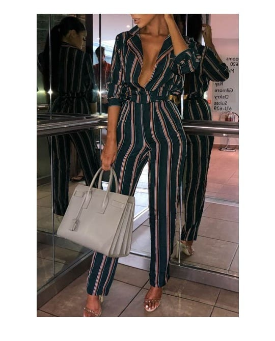Amera Stripe V-Neck Jumpsuit