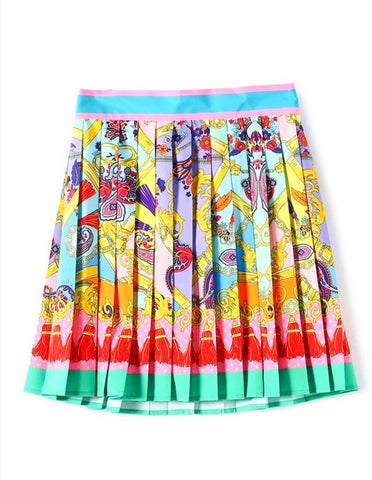 Colorful Times High Waist Pleated Skirt