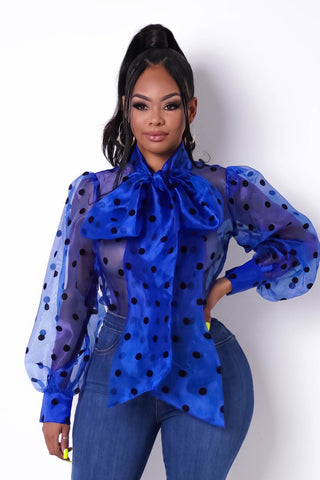 The Polka Mania Bow Tie Long-Sleeve Blouse