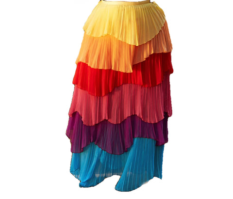 The Skittles Tiered Pleated Ruffles Skirt