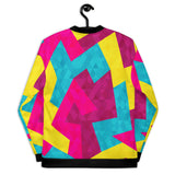 "ABK's ""Return of the Fresh"" Unisex Bomber is a uniquely designed jacket. The use of shapes and colors makes it a fashion (and geometric) triumph."