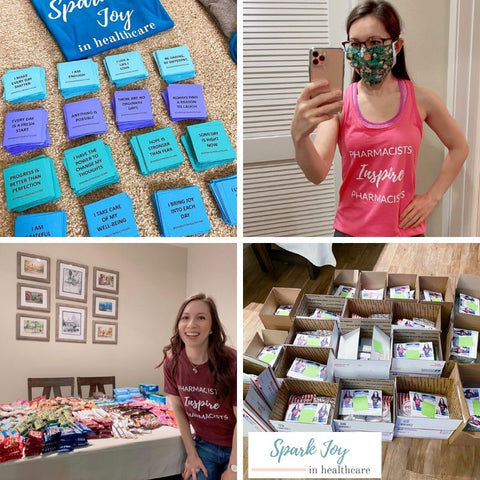 Pharmacists Inspire Pharmacists Tees Tshirts SHOP, Pharmacist Care Packages update by Dr. Jessica Louie, Spark Joy in Healthcare Community and Shop, Pharmacist Gift Ideas, Pharmacy technician gift ideas, Joy at Work notepads, Doctor gifts, Affirmation Cards