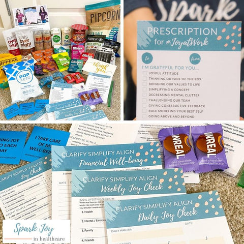 Pharmacist Care Packages, Pharmacists Inspire Pharmacists by Spark Joy in Healthcare and Dr. Jessica Louie. Thank you to Rise Brewing, Pipcorn, Zero Popcorn, Power Up snacks, Hippeas, Overnight Oats, Nutpods, Skinnydipped, Uniball, Blitex, Unreal Snacks, Bobos