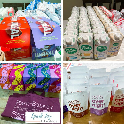 Pharmacist Care Packages by Spark Joy in Healthcare, unreal snacks, overnight oats, nutpods, get lupii, uniball pens