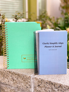 Clarify Simplify Align Quarterly Planner and Journal by Dr. Jessica Louie, Burnout and well-being book for students and pharmacists, bring joy and gratitude journal, goal setting, daily planner