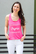 Load image into Gallery viewer, Pharmacists Inspire Pharmacists Tank Top for women in pharmacy. Pharmacist gift. Pharmacy student gift. Summer pharmacist outfit. Spark Joy in Healthcare community and shop by Dr. Jessica Louie.