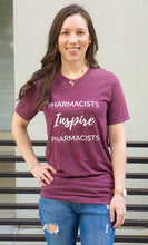 Load image into Gallery viewer, Untucked shirt. Pharmacists Inspire Pharmacists Tees and T-shirts for women and men unisex sizing. Spark Joy in Healthcare community, mentorship and coaching for pharmacists and healthcare professionals. Bring JOY back into healthcare. Pharmacist gift. Pharmacy student gift.