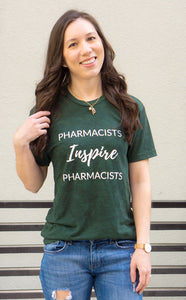 Pharmacists Inspire Pharmacists Tees and T-shirts for women and men unisex sizing. Spark Joy in Healthcare community, mentorship and coaching for pharmacists and healthcare professionals. Bring JOY back into healthcare. Pharmacist gift. Pharmacy student gift.