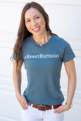 Reset Burnout Tee Tshirt for women in healthcare, reset pharmacist burnout, healthcare burnout strategies, The Burnout Doctor Podcast. Women's pharmacist tshirt #ResetBurnout #JoyatWork