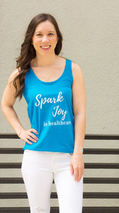 Spark Joy in Healthcare Tank Top for women in pharmacy, medicine and healthcare.. Pharmacist gift. Pharmacy student gift. Summer pharmacist outfit. Spark Joy in Healthcare community and shop by Dr. Jessica Louie.