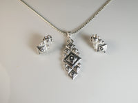 Undecane Necklace and Hexane Earrings in 935 Argentium Silver