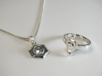 Dioxygen Necklace and The Niner Oxy Ring in 935 Argentium Silver