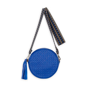 Moyo Drum Bag with Jacquard Strap, Electric Blue