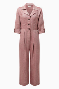 The Serra Boiler Suit in Ruby Red