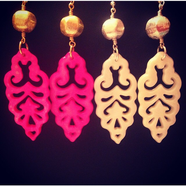 White Carved Earrings