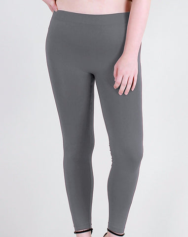 Charcoal Full Length Leggings, Plus - Blissful Boutique