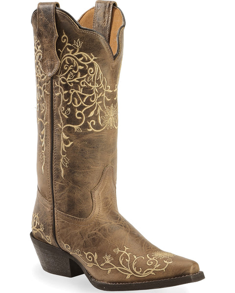 Vintage Embroidary Etched Cowgirl Boots - Blissful Boutique