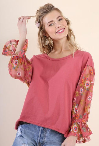 Rose Embroidered Puff Sleeve Top