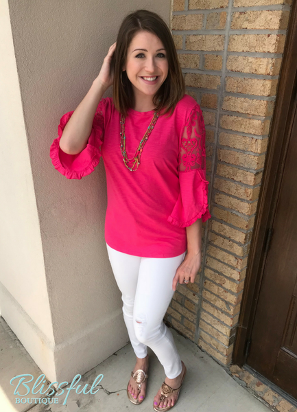 Fuchsia Ruffled Slub Knit Top