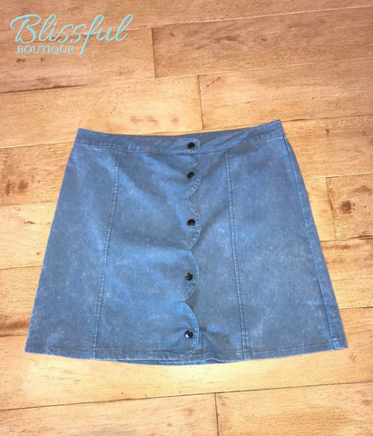 Denim Skirt w/ Scallop Detail
