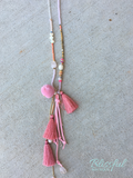 Pink PomPom Tassel Necklace
