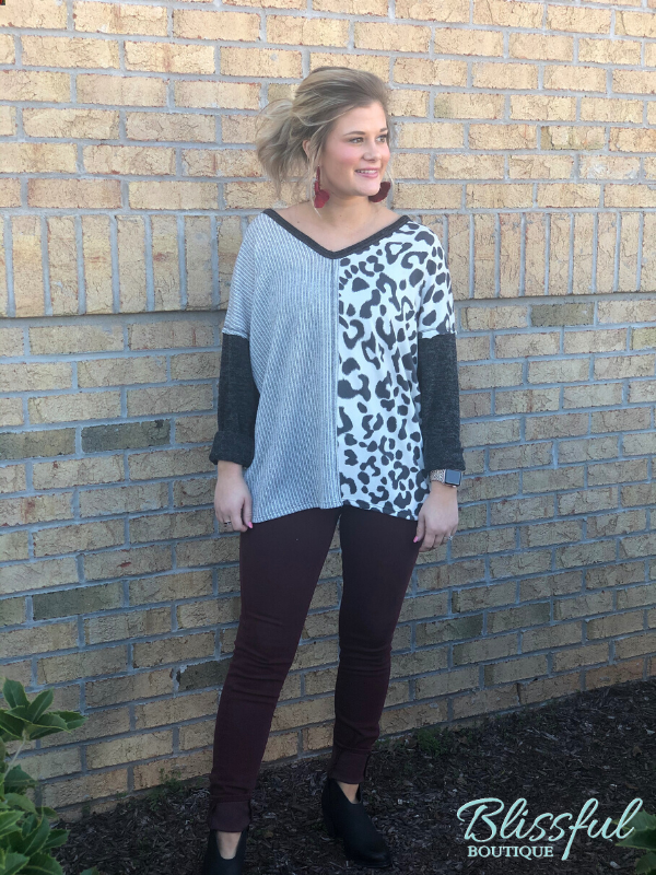 Charcoal V Neck Leopard Contrast Top