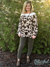 Brown Cow Print Wide Neck Top