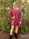 Burgundy Balloon Sleeve Babydoll Top
