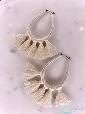 Threaded Teardrop Tassel Earrings- Ivory