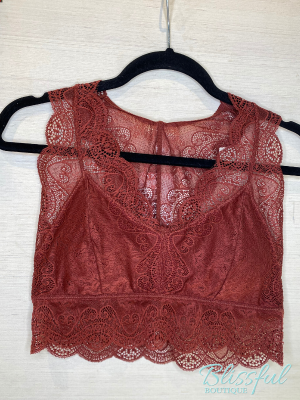 Fired Brick Hourglass Back Lace Bralette