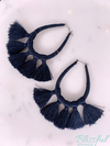Threaded Teardrop Tassel Earrings- Navy