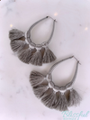 Threaded Teardrop Tassel Earrings- Grey